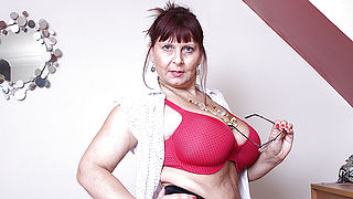 Big breasted British mature lady getting very dirty