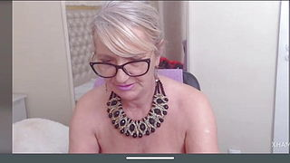 Latin blonde granny with saggy tits masturbates pussy