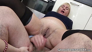 Lucky senior fucks pretty young babe before banging the wife