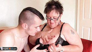 Young gardener Sam Bourne with big dick working on granny