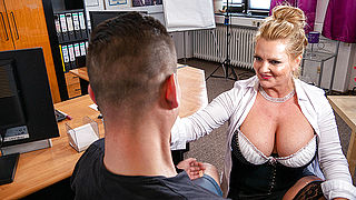 Busty German secretary blows and fucks her young applicant during job interviewg