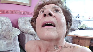 Hairy old German grandma has a hairy pussy