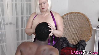 Mature Brit in lingerie sucks black shlong