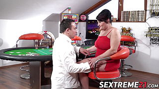 Mature lady wins good dick pounding in a game of poker