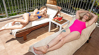 Sexy Milf and her young girlfriend eat each others pussies by the pool
