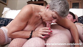 Young ladrsquo;s dream fuck with a British granny with big, saggy tits