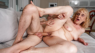 Horny grandma sucks her young toyboys cock and gets fucked hard